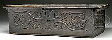 EARLY 18TH CENTURY CARVED OAK BIBLE BOX.