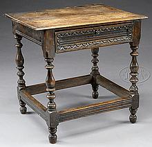 OAK JACOBEAN TAVERN TABLE WITH DRAWER.