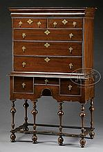 LATE 17TH/EARLY 18TH CENTURY WILLIAM AND MARY HIGHBOY.