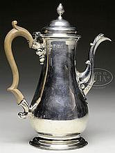 LARGE LONDON STERLING COFFEE POT BY WHIPHAM AND WRIGHT.