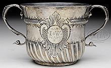 VERY FINE LATE 17TH CENTURY ENGLISH STERLING POSSET OR CAUDLE CUP.