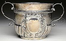 LARGE EARLY 18TH CENTURY STERLING CAUDEL CUP.