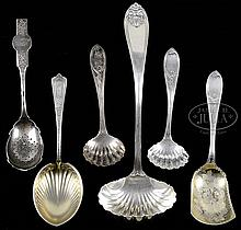 SIX COIN AND STERLING SILVER SERVING PIECES.