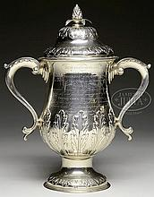 FINE GEORGIAN STERLING TWO-HANDLED COVERED CUP PRESENTED TO JOHN GREIG OF NEW YORK, USA 1817.