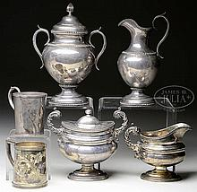 2 COIN SILVER SUGARS & CREAMERS, AND 2 COIN SILVER CUPS.