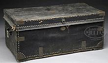 CAPT. ANDREW BLANCHARD'S HIDE COVERED BRASS BOUND CAMPHOR WOOD STORAGE CHEST.