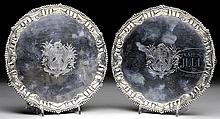 FINE PAIR OF SMALL LONDON STERLING SALVERS BY E. COKER, 1762.