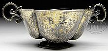 LATE 17TH CENTURY GERMAN FOUR-LOBED SILVER BOWL.