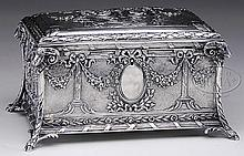 OUTSTANDING 19TH CENTURY CHINESE EXPORT FRENCH LOUIS XVI STYLE HAND CHASED SOLID SILVER JEWELRY CASKET.