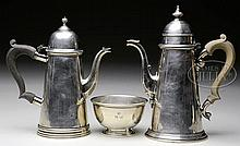STERLING, 2 TEAPOTS & SUGAR BOWL BY PETER GUILLE, LTD.
