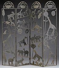 FOLK ART SHEET IRON FOUR PANEL FOLDING SCREEN.