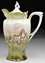 RARE ANTIQUE R.S. PRUSSIA COVERED CHOCOLATE POT DECORATED WITH TIGERS.