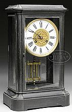 BRASS AND BEVELED GLASS REGULATOR CLOCK.