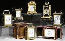 SEVEN TRAVEL AND CARRIAGE CLOCKS.