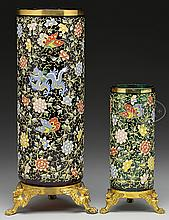 TWO MOSER DECORATED VASES.