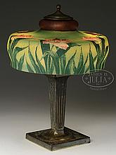 PAIRPOINT OBVERSE PAINTED FLORAL TABLE LAMP.