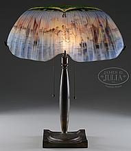 PAIRPOINT VENETIAN REVERSE PAINTED TABLE LAMP.