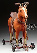 STATELY AND ELEGANT FELT STEIFF RIDING HORSE WITH IDs.