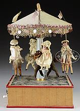 4-HORSE WINDUP CAROUSEL WITH RIDERS.