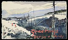 ANDREW WYETH (American, 1917-2009) THREE CHRISTMAS CARDS & A WATERCOLOR.