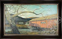 ERIC SLOANE (American, 1905-1985) AFTERNOON SHADOWS ON RED COVERED BRIDGE.