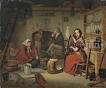 ENGLISH SCHOOL (early 19th century) GENRE SCENE OF FAMILY IN INTERIOR.
