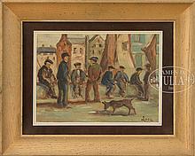 MAXIMILLIEN LUCE (French, 1858-1941) MEN ON THE DOCKS.