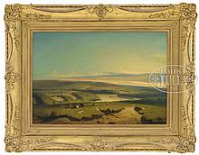C. CARLIER (French, 19th century) PANORAMIC PASTORAL VIEW OF FRENCH COUNTRYSIDE.