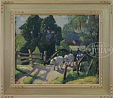 CARL W PETERS (American, 1897-1980) DRIVING THE OX OVER A BRIDGE.