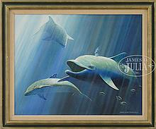 GEORGE LUTHER SCHELLING (American, 1938-) DOLPHINS.