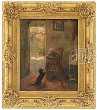 FRANS CHARLET (Belgian, 1862-1928) TEASING THE CAT.