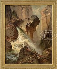 GEORGE BENSELL (American, 1837-1879) WATERFALL, COLORADO ROCKIES.