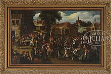 FLEMISH SCHOOL (16/17th Century) REVELERS AT THE VILLAGE FESTIVAL.