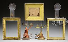 PAIR OF BRASS WAXJACKS, PAIR OF MINIATURE TIN WALL SCONCES AND THREE EARLY MINIATURE FRAMES.
