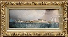 JAMES EDWARD BUTTERSWORTH (American/British 1817-1894) A THREE DECKER OFF DOVER CASTLE WITH SHAKESPEARE CLIFF IN THE DISTANCE.