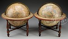 PAIR OF TERRESTRIAL AND CELESTIAL TABLETOP GLOBES BY J. WILSON & SONS.