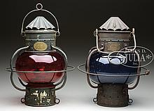 TWO RARE ONION PORT AND STARBOARD SHIP'S LANTERNS.