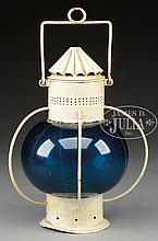 PAINTED TIN SHIP'S LANTERN WITH RARE BLUE-GREEN ONION GLASS GLOBE.