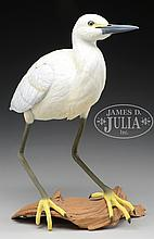 CARVED AND PAINTED WHITE HERON BY RICHARD KOEDITZ.