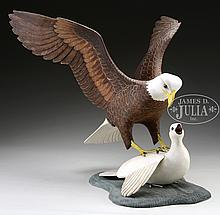 SCULPTURE OF EAGLE & DOVE BY MARK HOLLAND.