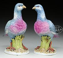 PAIR OF PAINTED AND WELL MODELED PORCELAIN DOVES BY CHELSEA.