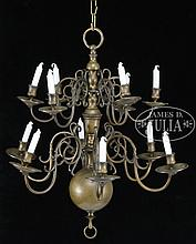 ANTIQUE TWO-TIER DUTCH BRASS CHANDELIER.