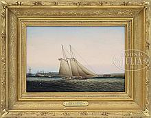 JAMES EDWARD BUTTERSWORTH (American/British 1817-1894) YACHTING IN NEW YORK HARBOR.