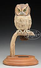 FINE CARVED AND PAINTED SCREECH OWL BY RICHARD KOEDITZ.
