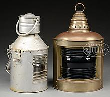 BRASS SHIP'S RUNNING LIGHT TOGETHER WITH TIN SHIP'S SIGNAL LANTERN.