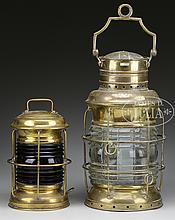 TWO BRASS SHIP'S LANTERNS.