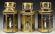 GROUP OF THREE ENGLISH BRASS CABIN LANTERNS.