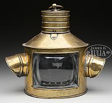 BRASS MASTHEAD LIGHT WITH TRIPLEX LENS AND PORT AND STARBOARD LENSES.