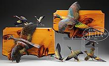 EIGHT CARVED AND PAINTED PHEASANT AND DUCK CARVINGS BY WILLIAM KING BOWMAN OF BANGOR, MAINE.