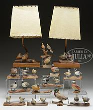 TEN DOUBLE MINIATURE BIRD CARVINGS BY HARRY VREELAND AND SIX SINGLE BIRD MINIATURE CARVINGS BY JAMES J AHERN AND TWO UNIDENTIFIED LAMPS.